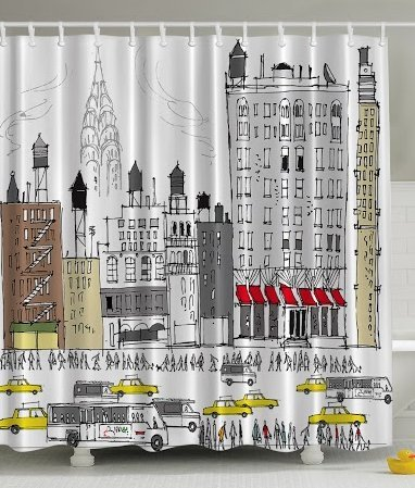 Ambesonne Hippie Boho Americana Bath Accessories Collection, Busy City Traffic Jam Yellow Taxi Cab Urban Cartoon Design Modern Style for Art Prints Polyester Fabric Shower Curtain, Gray Red Brown (Shower Curtains Modern compare prices)