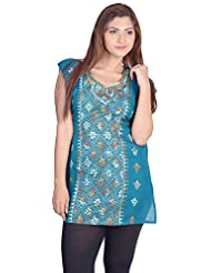 Aabarani Women's Hand Work Semi Stitched Cotton Kurta (ABKU004,Smoke Blue)