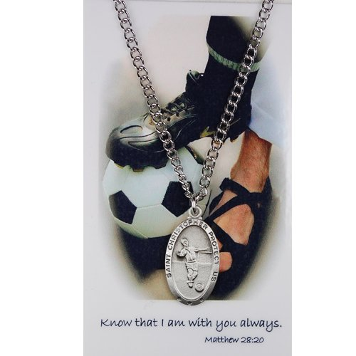 Boys Soccer Medal Prayer Card Catholic Sports Pendant Charm Christian