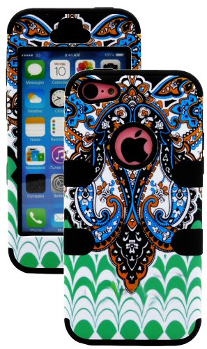Mylife (Tm) Black + Colorful Abstract Paisleys 3 Layer (Hybrid Flex Gel) Grip Case For New Apple Iphone 5C Touch Phone (External 2 Piece Full Body Defender Armor Rubberized Shell + Internal Gel Fit Silicone Flex Protector + Lifetime Waranty + Sealed Insid