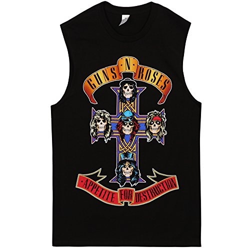 Official Adults Guns N' Roses Cross Logo Muscle Tank Top - Black - L, XL, XXL