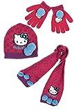 Bufanda, gorro y guantes para ni�o para ni�a, dise�o de Hello kitty, color rosa y Gris de 3 a 9 a�os Pois rose/violet Talla:54 (6-9 ans)