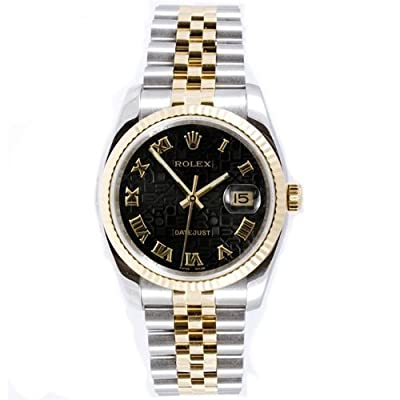 Rolex Mens New Style Heavy Band Stainless Steel & 18K Gold Datejust Model 116233 Jubilee Band Fluted Bezel Black Anniversary Roman Dial