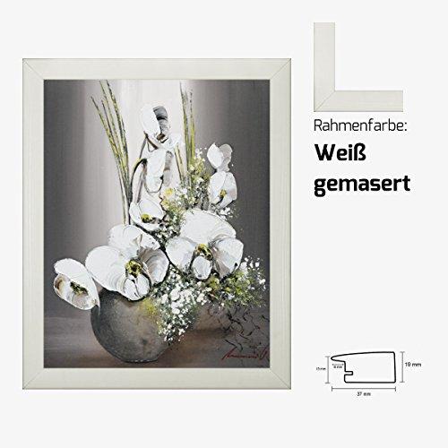 Kunstdruck TRAMONI - Univers d'orchidees blanches II weiße Orchideen in Vase Blumenstrauß 40 x 50 cm mit MDF-Bilderrahmen & Acrylglas reflexfrei, viele Farben zur Auswahl, hier Weiß gemasert