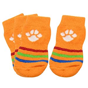 Pet Paw Protectors : Amazon.com: Puppy Dog Paw Pattern Orange Knitted