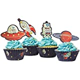 Ginger Ray Space Adventure Party Spaceship & Robot Cupcake Cases & Toppers, Mixed