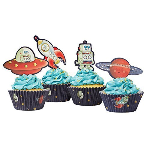 Ginger Ray Space Adventure Party Spaceship & Robot Cupcake Cases & Toppers, Mixed - 1