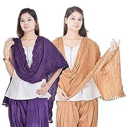 Kalrav Solid Purple and Beige Cotton Dupatta Combo