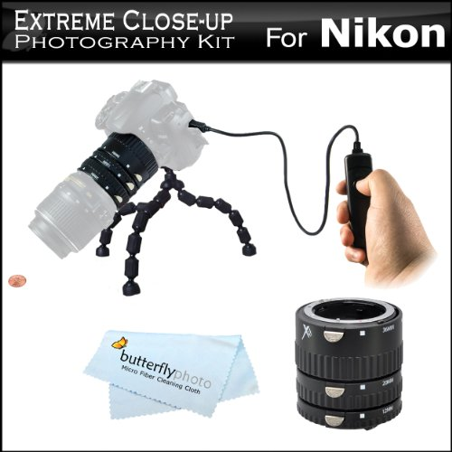 Extreme Close-Up Photography Kit For Nikon Df, D610, D600, D90, D5300, D5200, D5100, D7100, D7000, D3300, Includes Auto Focus Macro Extension Tube Set (12mm, 20mm, 36mm) For Nikon DSLR + Remote Shutter Release (Replaces Nikon MC-DC2) + 12 Flexible Tripod