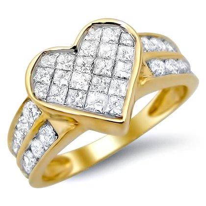 Where Can I Buy 1.0ct Princess Cut Heart Diamond Ring 14k Yellow Gold