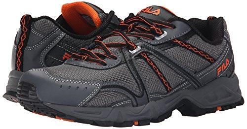 Fila Men's Ascent 12 Trail Running Shoe, Dark Silver/Castlerock/Vibrant Orange, 10.5 M US