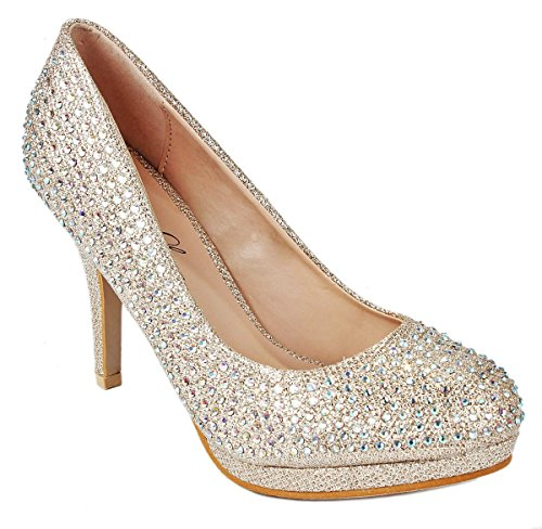 Women Shani04 Champagne Sparkle Crystal Gem Rhinestone Glitter Evening Dress Pumps-8.5