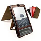Tuff-Luv Western Leather Collection hide case cover & Stand for Amazon Kindle Keyboard / Kindle 3 / Global Wireless 6 inch / 15 cm - Brown