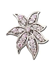 Exxotic Fashionable Sterling Silver Flower Theme Light Purple Color American Diamond Pendant Jewellery For Women...