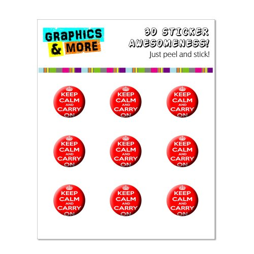 Graphics and More Keep Calm And Carry On Red Home Button Stickers Fits Apple iPhone 4/4S/5/5C/5S, iPad, iPod Touch - Non-Retail Packaging - Clear - 1