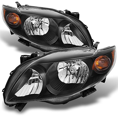 Toyota Corolla S | XRS Black Headlights Driver Left + Passenger Right Side Replacement Pair Set (2009 Corolla S Headlight Assembly compare prices)