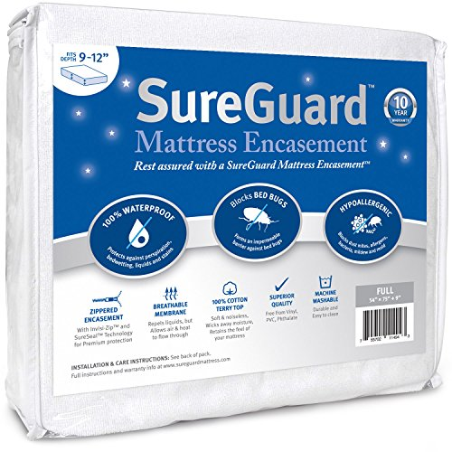 SureGuard Mattress Protectors 9-12-Inch Deep Waterproof, Hypoallergenic Full Mattress Encasement with Zippered Six-Sided Cover (Mattress Encasement Full Size compare prices)