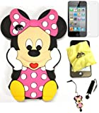 Bukit Cell ® 3D Disney Case Bundle - 5 items: PINK 3D Cute Minnie Mouse Soft Silicone Case Cover for iPod Touch 4 4G 4th Generation + BUKIT CELL Trademark Lint Cleaning Cloth + Minnie Figure Anti Dust Plug Stylus Touch Pen + Screen Protector + METALLIC Stylus Touch Pen with Anti Dust Plug