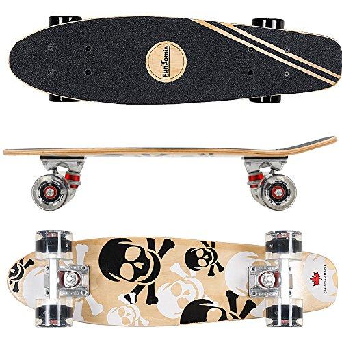 FunTomia® Skateboard Mini Cruiser 57cm - 7ply strati di acero canadese - Con o senza ruote a LED (Skull nero - Ruote con LED)