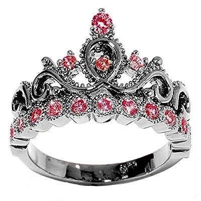 Black Rhodium 14K White Gold Princess Crown CZ Birthstone Ring