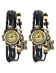Felizo Set Of 2 Fancy Vintage Black Leather Bracelet Butterfly Watch For Girls & Women - Combo Offer