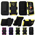 For Samsung Galaxy Rush M830 Cellularvilla 3pc Hard and Soft Yellow Black Kickstand Case with Holster Clip. This Case Is Only for the Samsung Galaxy Rush M830 (Yellow)