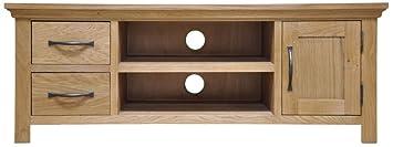 London Light Oak Large TV/HiFi Unit / Solid Oak 2 Drawer, 1 Door Entertainment Stand / Oiled Finish