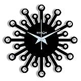 Random Wooden Jewel 24 Carat 12 Inches Black Wall Clock (30X30)cm