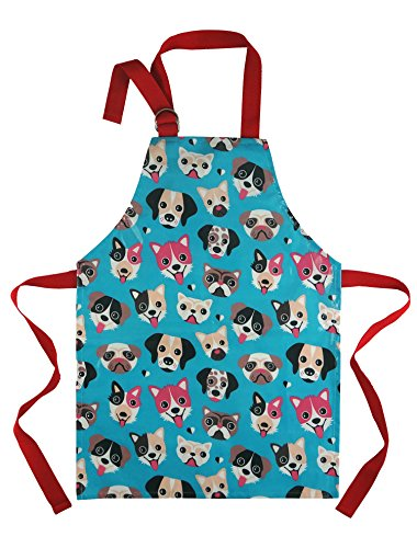 Child Apron For Cooking and Painting - Unique Cute Dog Print in Wipe Clean Vinyl for Toddlers Age 4 - 7 (medium, blue)
