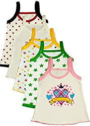 MYFAA Baby Girls' Cotton Regular Fit Vest - Combo of 5 (Multi-Coloured, 0-3 Months)