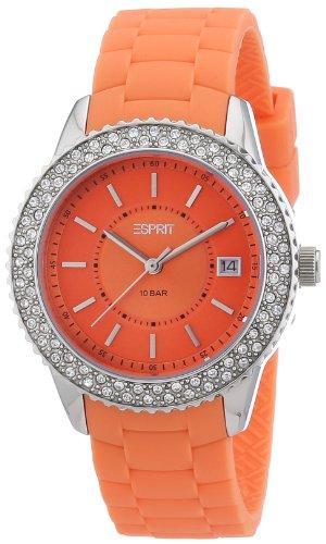 Esprit ES106212004 - Reloj analógico de cuarzo para mujer con correa de silicona, color naranja