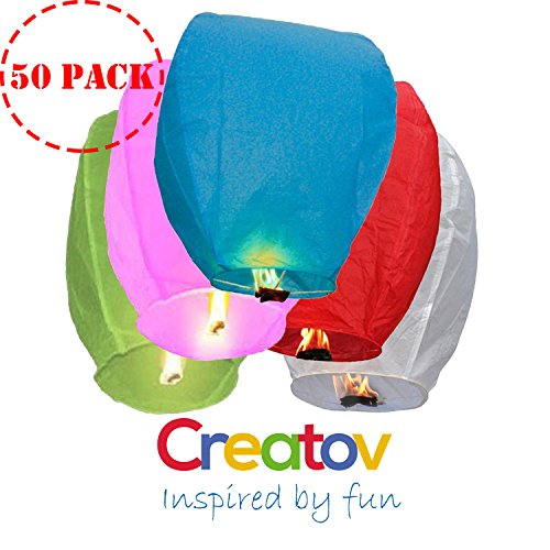 Chinese Flying Sky Lanterns, Paper Wish Lanterns - for Festivals, Weddings, Backyard Parties, -50 Pack, Assorted Colors- By Creatov®