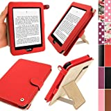 IGadgitz Red PU 'Bi-View' Leather Case Cover for Amazon Kindle Paperwhite 2014 2013 2012 With Sleep/Wake Function & Integrated Hand Strap