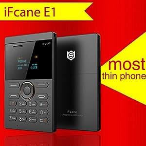 E1 Black - World's Slimmest, Lightest, Lowest Radiation, Slim Credit Card Size, Phone mini card mobile cell phone SIM GSM FM Bluetooth