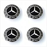 Gosweet Set of 4 Replacement Black WREATH Wheel Centre Center Rim Hub Caps Black 75mm Fit For MERCEDES BENZ C ML CLS S GL SL E CLK CL GL