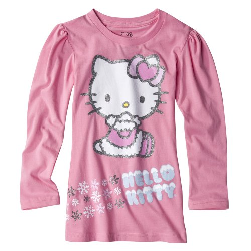 Girls' Hello Kitty Pink Long-Sleeve Glitter Graphic Shirt S