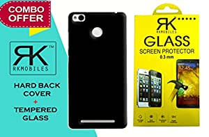 RKMOBILES Combo Pack Of Perfect Fitting Rubberised Hard Black Back Cover +Curve Edge Tempered glass Screen Protector For Xiaomi Redmi 3s Prime