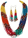 Colorful Rainbow Colored Multi Strand Layered Seed Bead Tribal Aztec Glam Necklace & Earrings