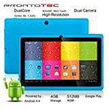 "ProntoTec 7"" Android 4.4 KitKat Tablet PC, Cortex A8 1.2 GHz Dual Core Processor,512MB / 4GB,Dual Camera,G-Sensor (Blue)"