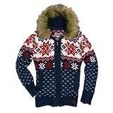 Eight2Nine Damenjacke Norweger Style Strick mit Kapuze und Fellkragen, Women Winterjacke blau, M