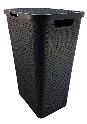 Wäschekorb Wäschebox Wäschetruhe Wäschekiste Wäschesammler Wäschetonne mit Deckel Kunststoff in Flechtoptik - Braun