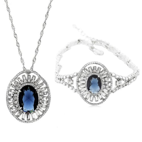 Neoglory Fashion Jewelry Set with Necklace & Bracelet Made with Zircon Platinum Plated Trendy Jewelry Wholesale