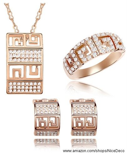 Nicedeco Je-Sw-Tz033-Clear,Swarovski Elements Austrian Crystal Jewelry Sets,A Faiytale Love Story,Necklace,Ring And Earring(3-Piece Set),Elegant Style And Exquisite Craftsmanship