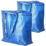 2 Ikea Frakta Shopping Bags 10 Gal Blue Tote Multi Purpose Durable Material