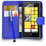 MOBILE JOY Nokia Lumia 520 Leather Wallet Flip Case Cover Pouch + Big Touch Stylus Pen + 2 x Screen Protector & Polishing Cloth ( Blue )