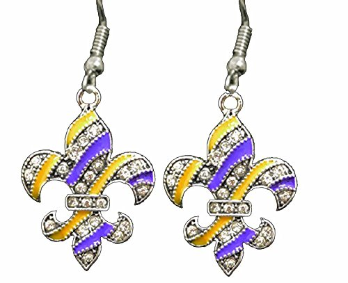 From The Heart Beautiful Purple & Gold Fleur De Lis Earrings Embellished With Clear Crystal Rhinestones.