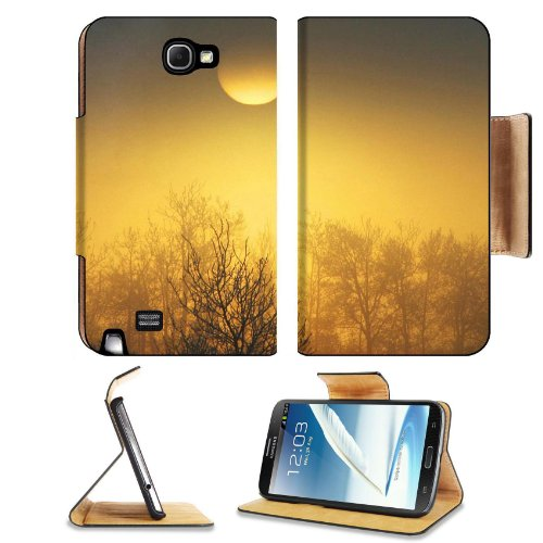 Orange Sun Over The Forest Samsung Galaxy Note 2 N7100 Flip Case Stand Magnetic Cover Open Ports Customized Made To Order Support Ready Premium Deluxe Pu Leather 6 1/16 Inch (154Mm) X 3 5/16 Inch (84Mm) X 9/16 Inch (14Mm) Msd Note Cover Professional Note2
