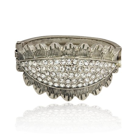 MizEllie Costume Jewellery The Eyes Have It Sparkle Silver Tone and Crystal Vintage Antique Style Bangle Bracelet ,Can Make An Ideal Gift With Free Elegant Organza Jewellery Pouch