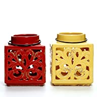 Hosley's Set of 2 Red and Gold Ceramic Lanterns. Ideal for spa, aromatherapy