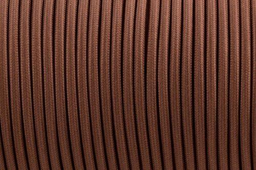 2-core-075-mm-marrone-antico-intrecciato-rotondo-tessuto-di-seta-lampada-cavo-flessibile-cavo